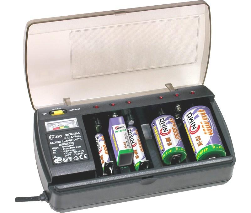 Cargador pilas baterias aa aaa c d y 6f22 medidor carga - Cargador para pilas ...
