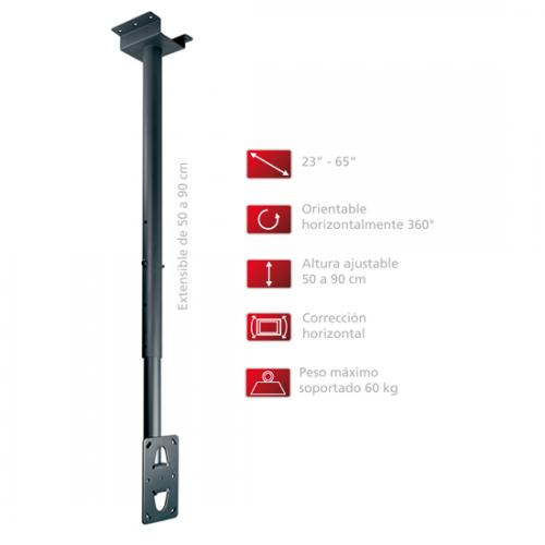 Soporte de techo para pantallas leds tv y proyectores regulable 50 90cm bd3815 brielco net - Soporte para proyectores techo ...