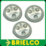 PACK 3 LAMPARAS LED PILOTO CON INTERRUPTOR LATERAL A PILAS AAA REGULABLE BD3920 -