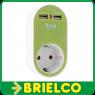 CARGADOR DOBLE USB VERDE  AC 100-240V, 50Hz MAX .3680W SALIDA DC 5V/ 2400mA BD681 -