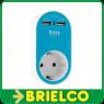 CARGADOR DOBLE USB AZUL  AC 100-240V, 50Hz MAX .3680W SALIDA DC 5V/ 2400mA BD683 -