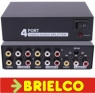 DISTRIBUIDOR REPARTIDOR SPLITTER AUDIO Y VIDEO 1 ENTRADA 4 SALIDAS RCAS BD8905 -