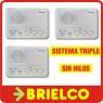 INTERCOMUNICADOR INALAMBRICO 220V SIN HILOS SISTEMA3 TERMINALES 3 CANALES BD6957 -