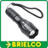 LINTERNA LED 10W RESISTENTE ENFOQUE Y ZOOM 7 MODOS 3XAAA ALUMINIO NEGRA BD5366 -